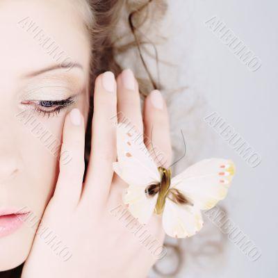 girl beautiful portrait butterfly hand