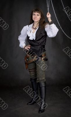 The girl - pirate and metal chain