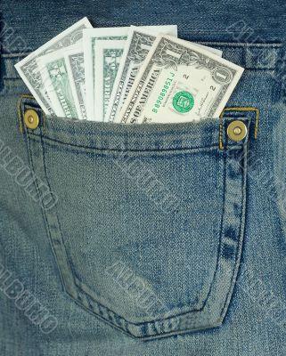 Dollars in hip-pocket on jeans