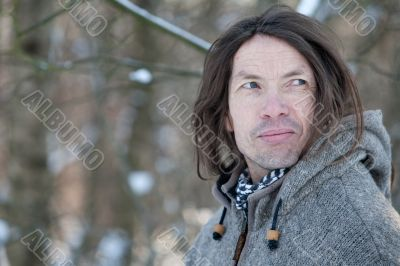 Character face in winter scape