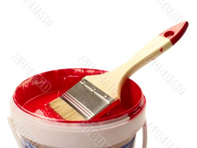 paint brush with red colour