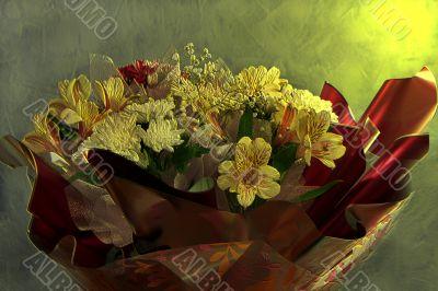 bouquet, flowerses, background, blue, stalk