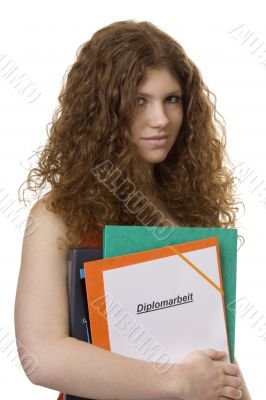 Female student with briefcase master thesis