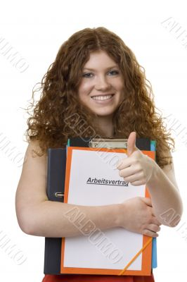 Female student with briefcase contract of employment