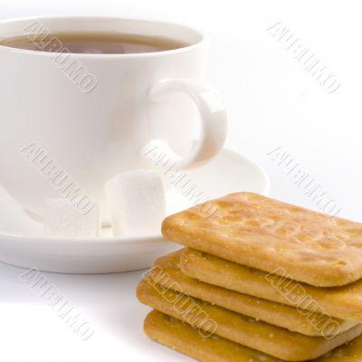 cup of tea, sugar and cookies