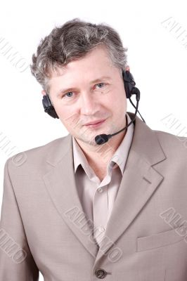 Customer representative wearing headset.