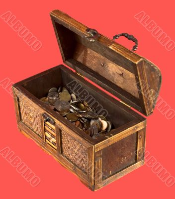 Wooden opening ancient chest with coins