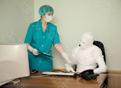 The bandaged boss and nurse