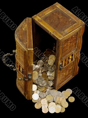 Ancient chest with coins