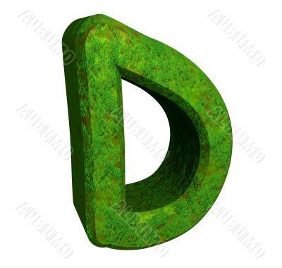 3d letter D in green grass
