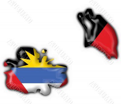 Antigua and Barbuda button flag map shape