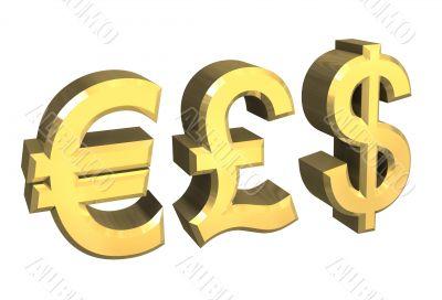 euro, pound, dollar symbol in gold - 3D made