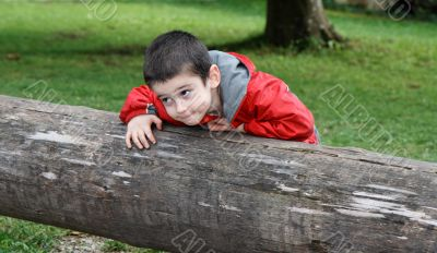Little boy with sly expression leans on the log