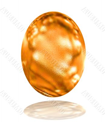 golden pattern easter egg with reflection over white background