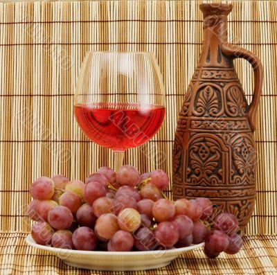 Bright still life with wine