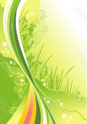 grass, flowers and abstract lines background
