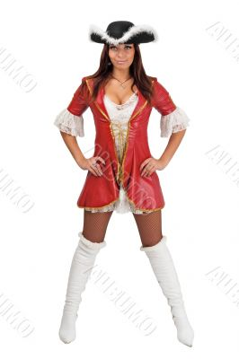 Attractive girl in a pirate costume