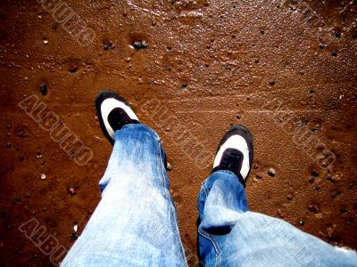 jeans and wet sand
