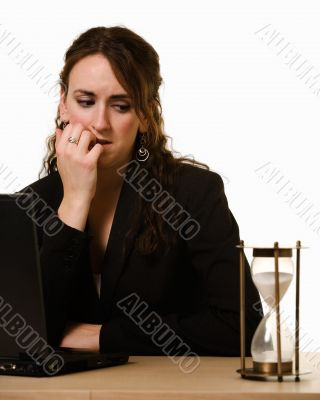 Worried woman Watching the clock