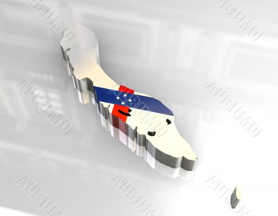 3d flag map of Curacao Netherlands Antilles