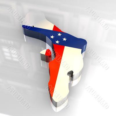 3d flag map of Bonaire Netherlands Antilles