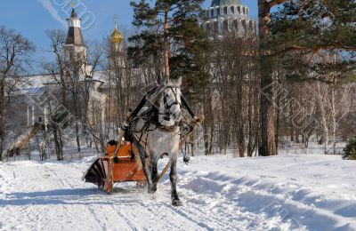 Russia. Winter. Driving on horses.