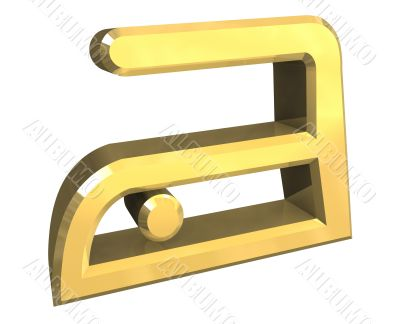 cool ironing symbol in gold - 3D