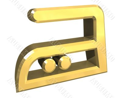Medium Heat ironing symbol in gold - 3D