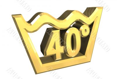 washing 40 degree symbol in gold isolated - 3D