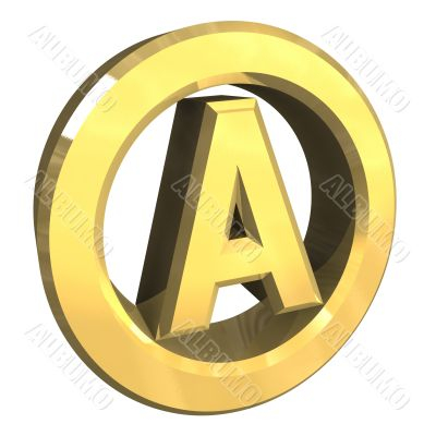 A dry washing symbol in gold isolated - 3D