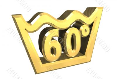 washing 60 degree symbol in gold isolated - 3D