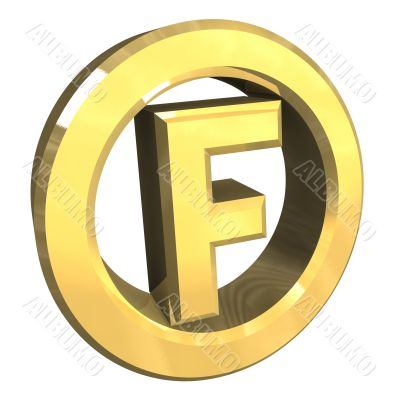 F dry washing symbol in gold isolated - 3D