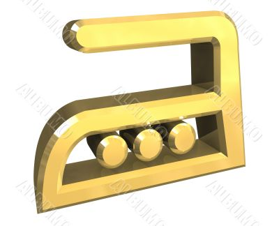 hot Heat ironing symbol in gold - 3D