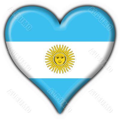 Argentina button flag heart shape