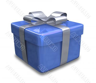 white gift with blue wrap - 3d made