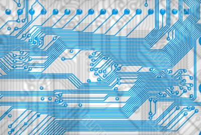 Blue abstract circuit board background in hi-tech syle
