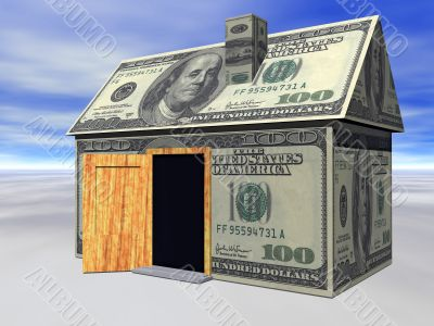dollar house with opened door -  real estate crisis concept. 3D rendered