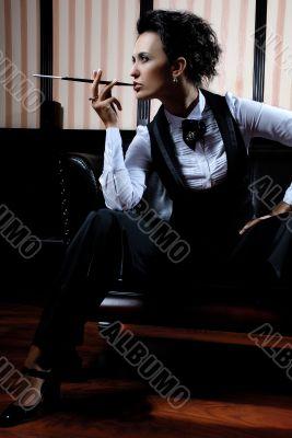 Businesswoman smoking