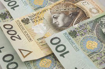 polish zloty banknotes background