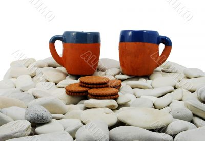 isolated picture mugs on rocks