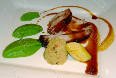 French meal with pork meat