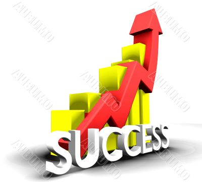 Statistics graphic with success word - 3d made