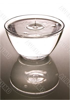 Bowl with clear water, reflected, isolated.
