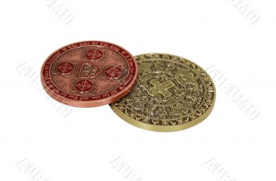 Intricate gold coins