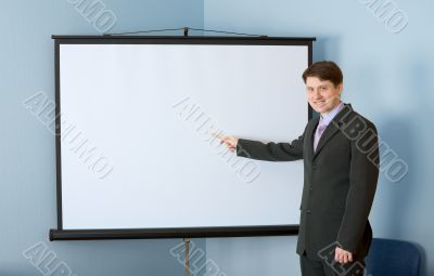Businessman near the white screen