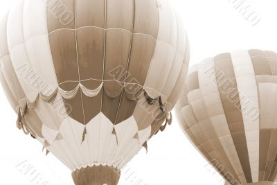 Flying Hot air balloons sepia