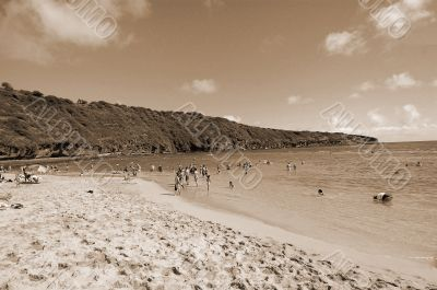 Chillout at Hanauma Bay Honolulu Hawaii sepia