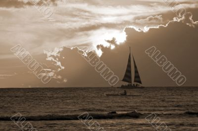 Yacht at Sunset sepia