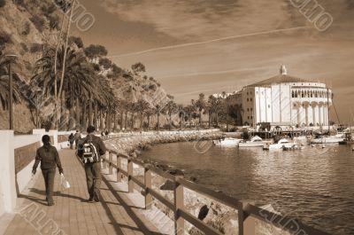 Couple travelling Catalina Island sepia