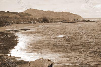 Rocky Makapu`u Beach sepia
